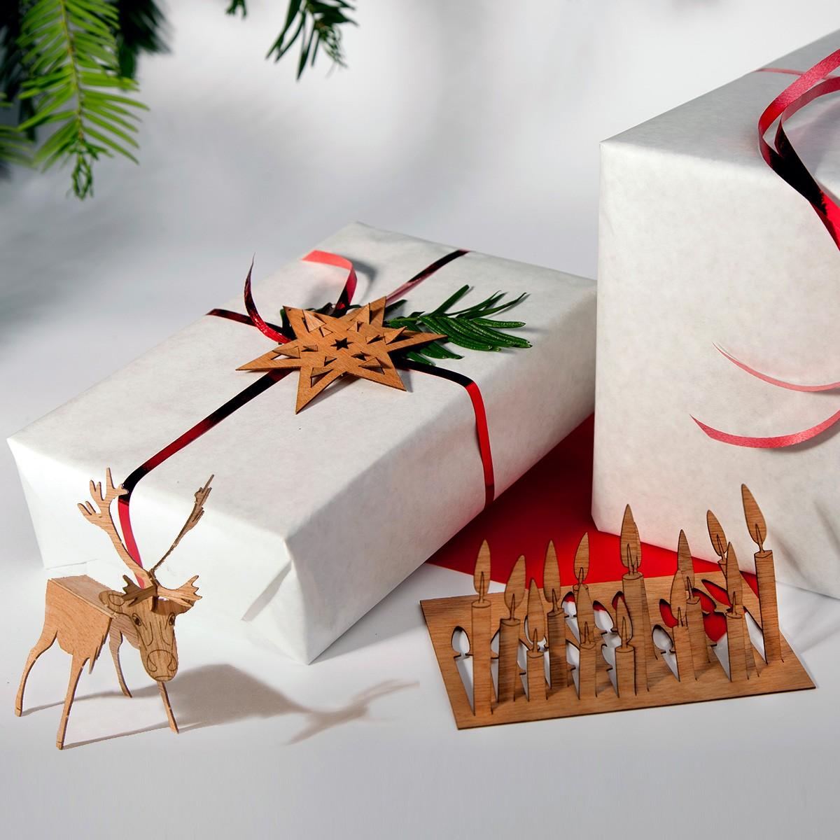 Bożonarodzeniowa kartka 3D z drewna
