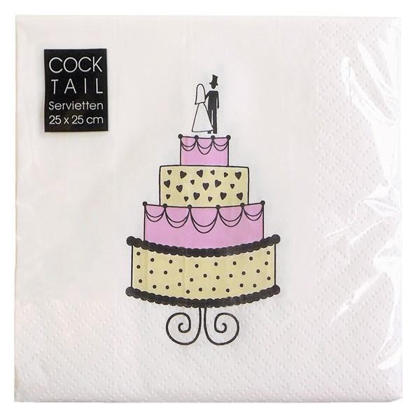Papierowe serwetki z tortem weselnym