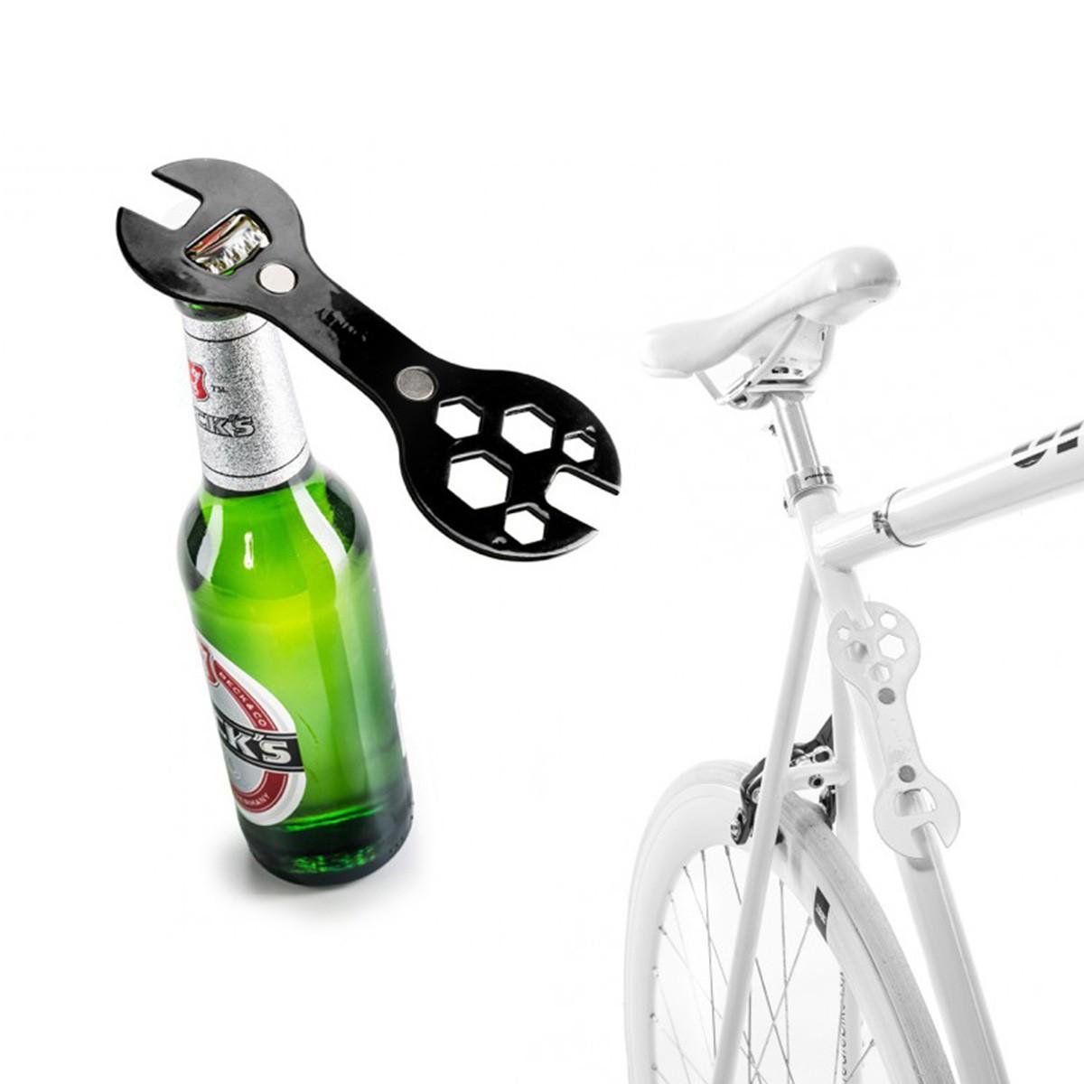 2 w 1: klucz rowerowy i otwieracz do butelek