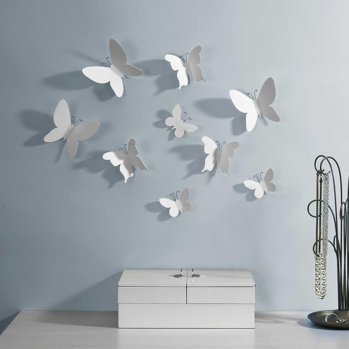 Białe motyle - dekoracja na ścianę