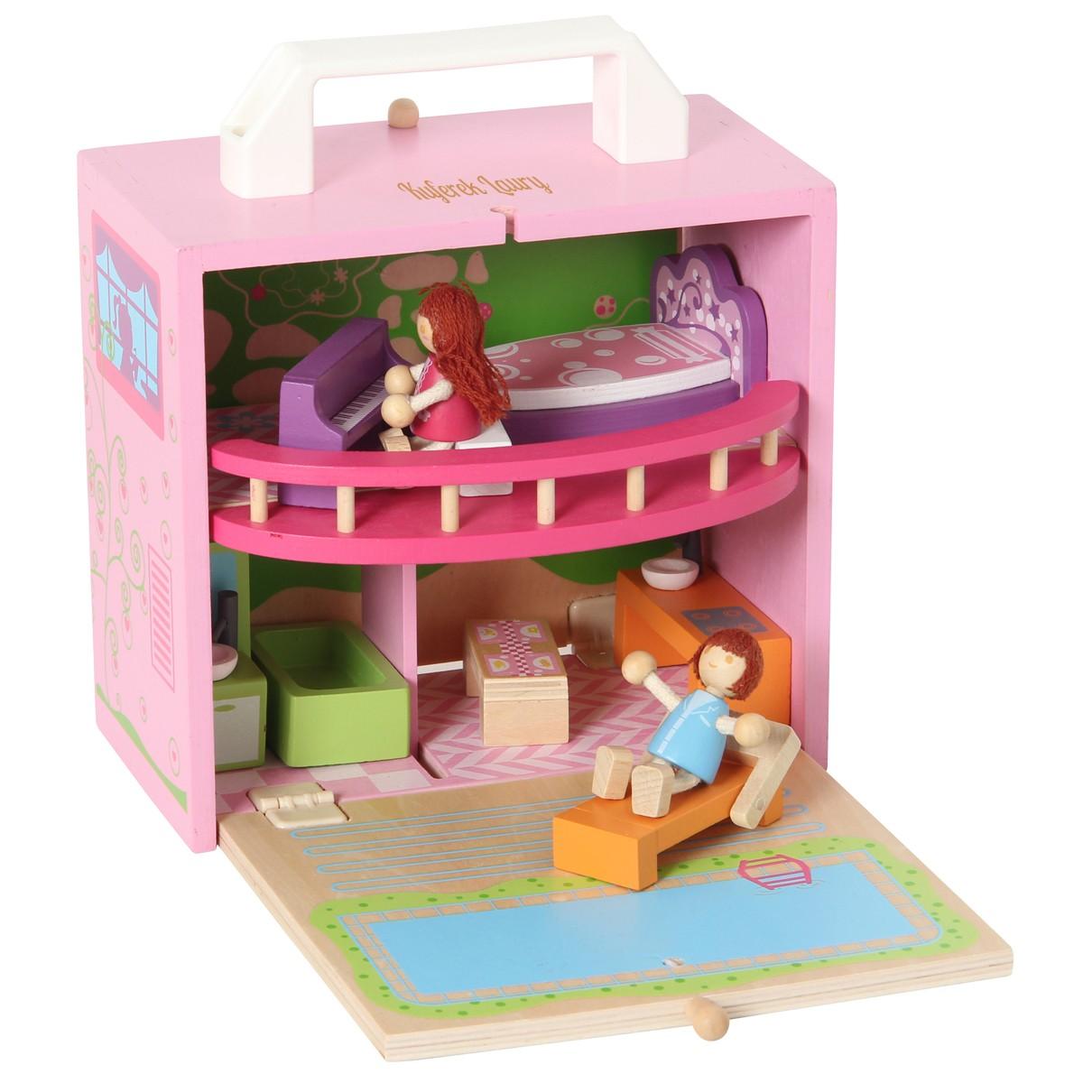 Domek dla lalek w walizce z grawerem