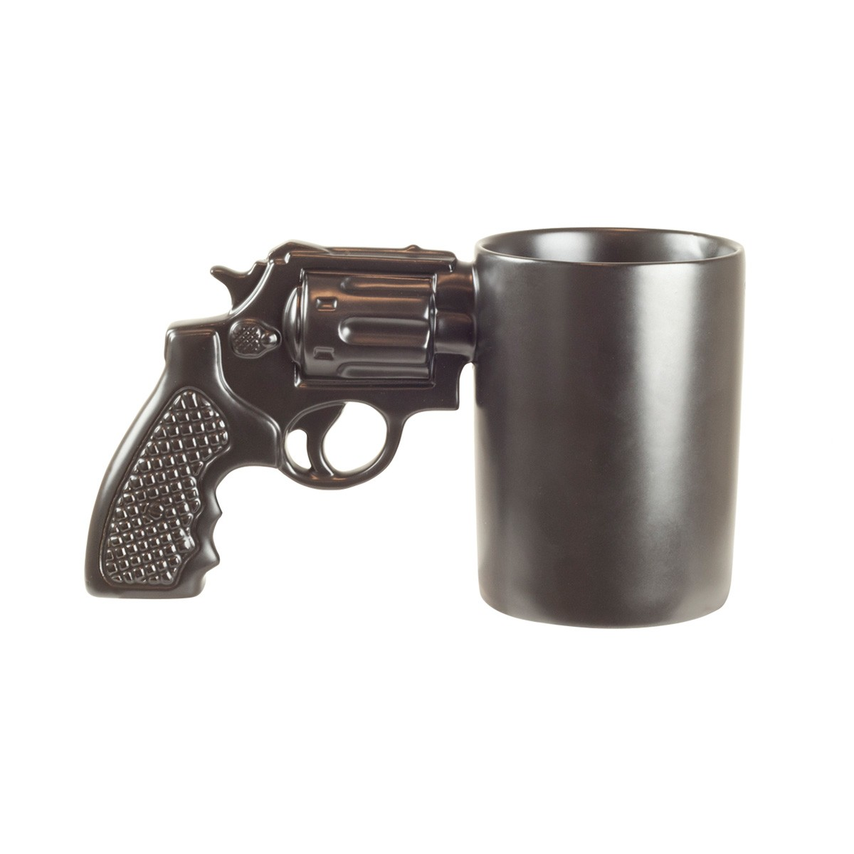 Kofeinowy strzał: kubek z rewolwerem