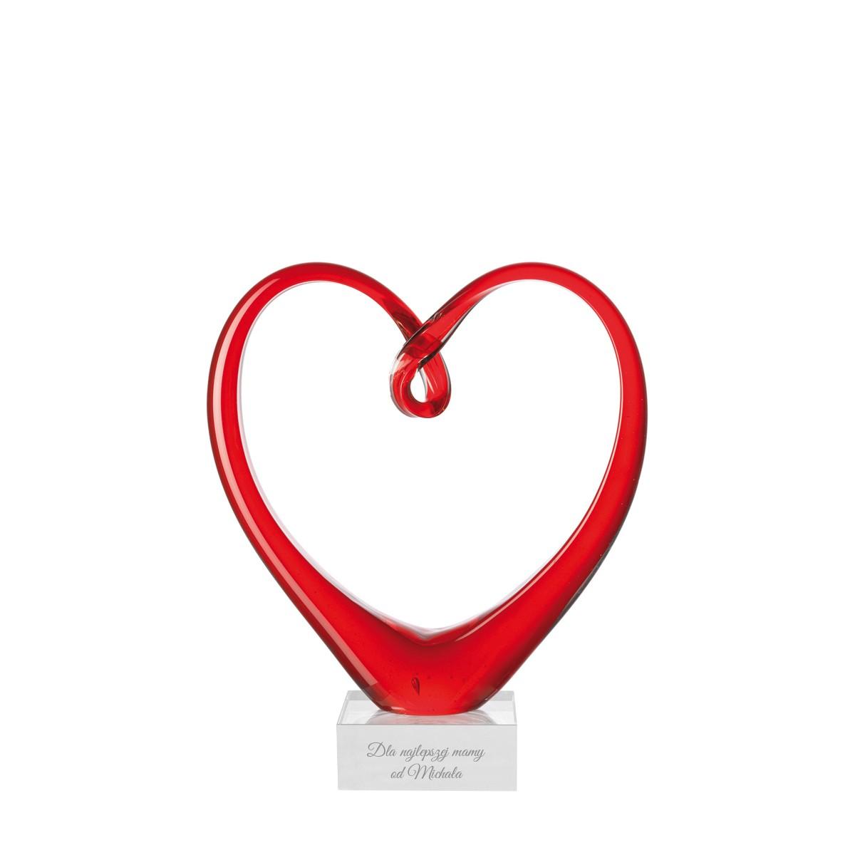 Leonardo: szklana figurka w kształcie serca z grawerem