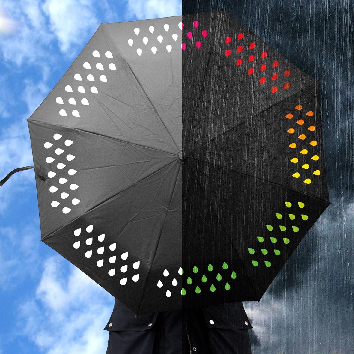 Parasol zmieniający kolor w deszczu