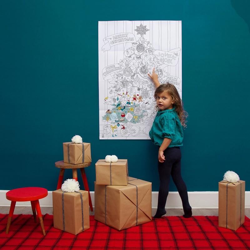 """Plakat do kolorowania """"świąteczna choinka"""""""