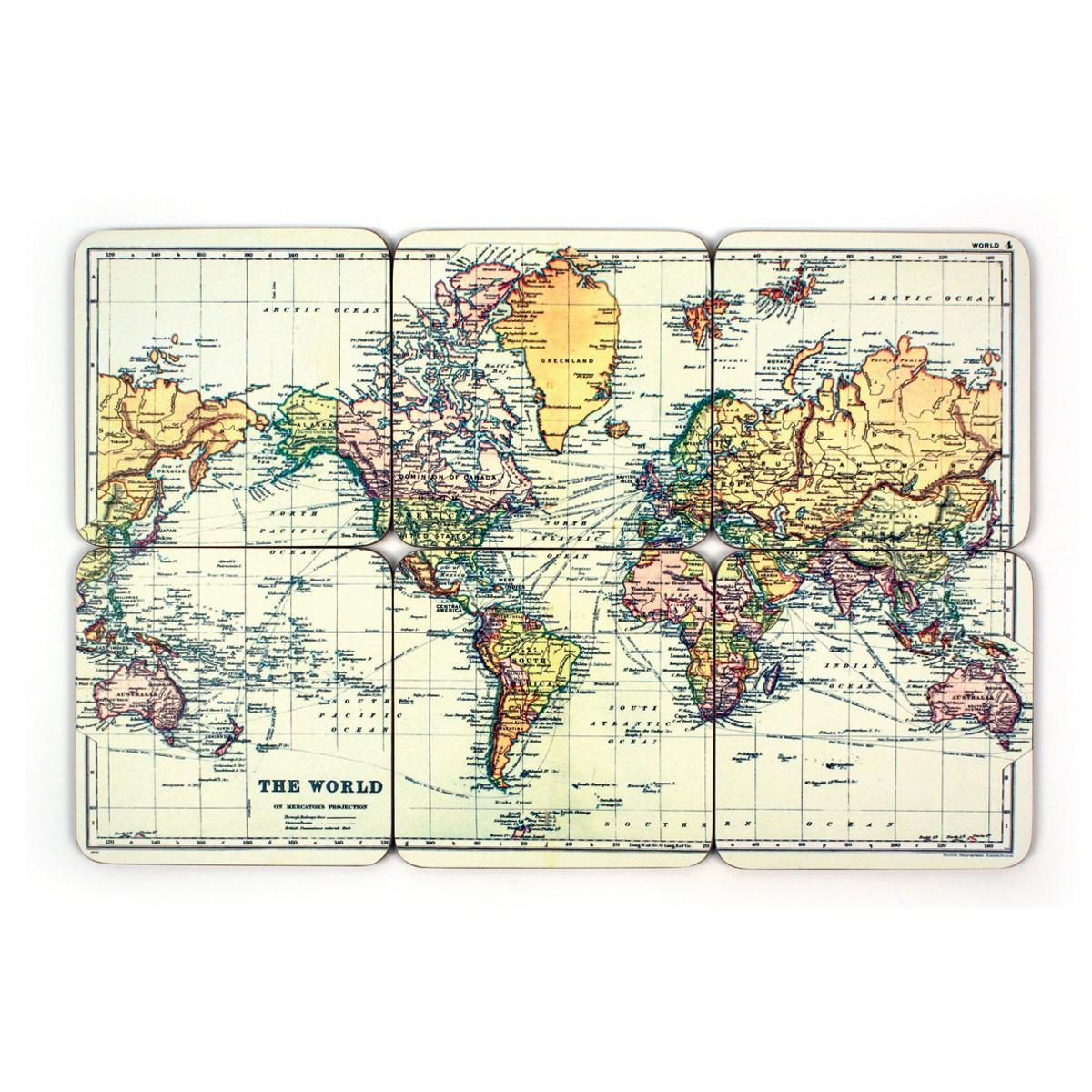 Podkładki na stół w kształcie mapy świata (zestaw 6 części)