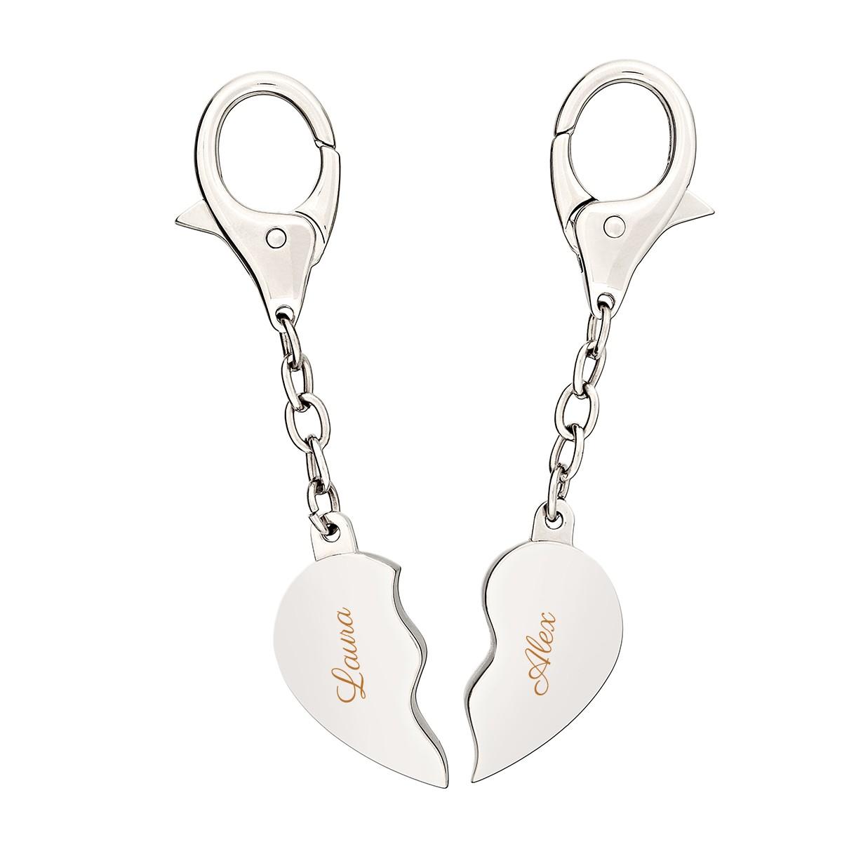 Srebrny brelok:  połówki serca z grawerem