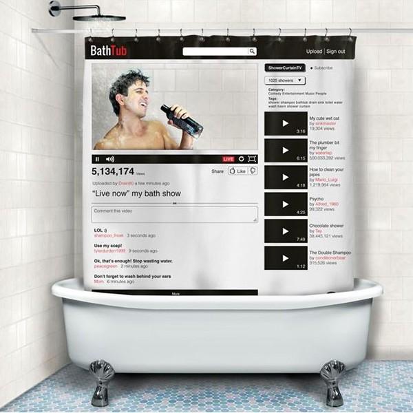 Zabawna zasłona prysznicowa w stylu Web 2.0