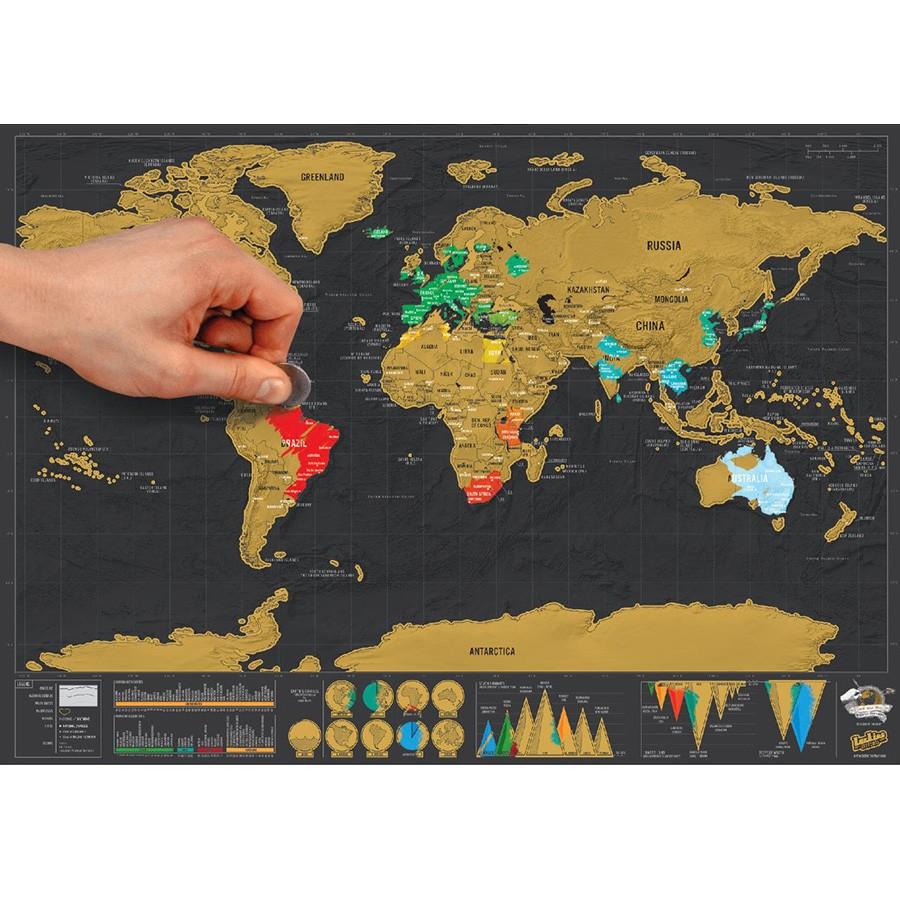 Zdrapywalna mapa świata de luxe - format podróży
